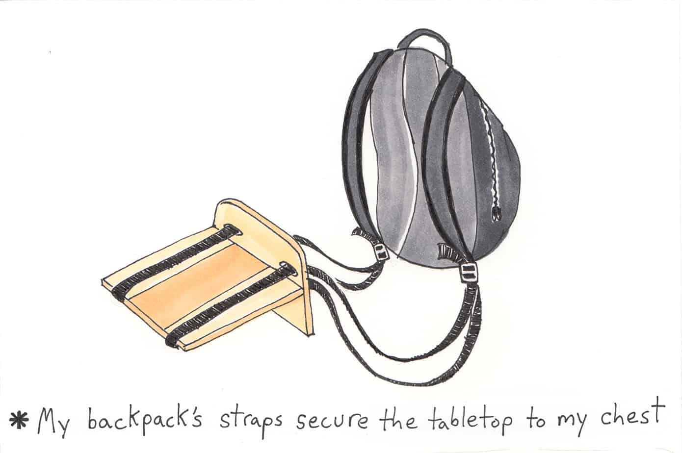 diagram of portable tabletop attached to backpack