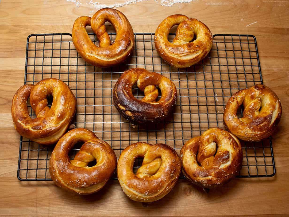 pretzels arranged in a smiley face
