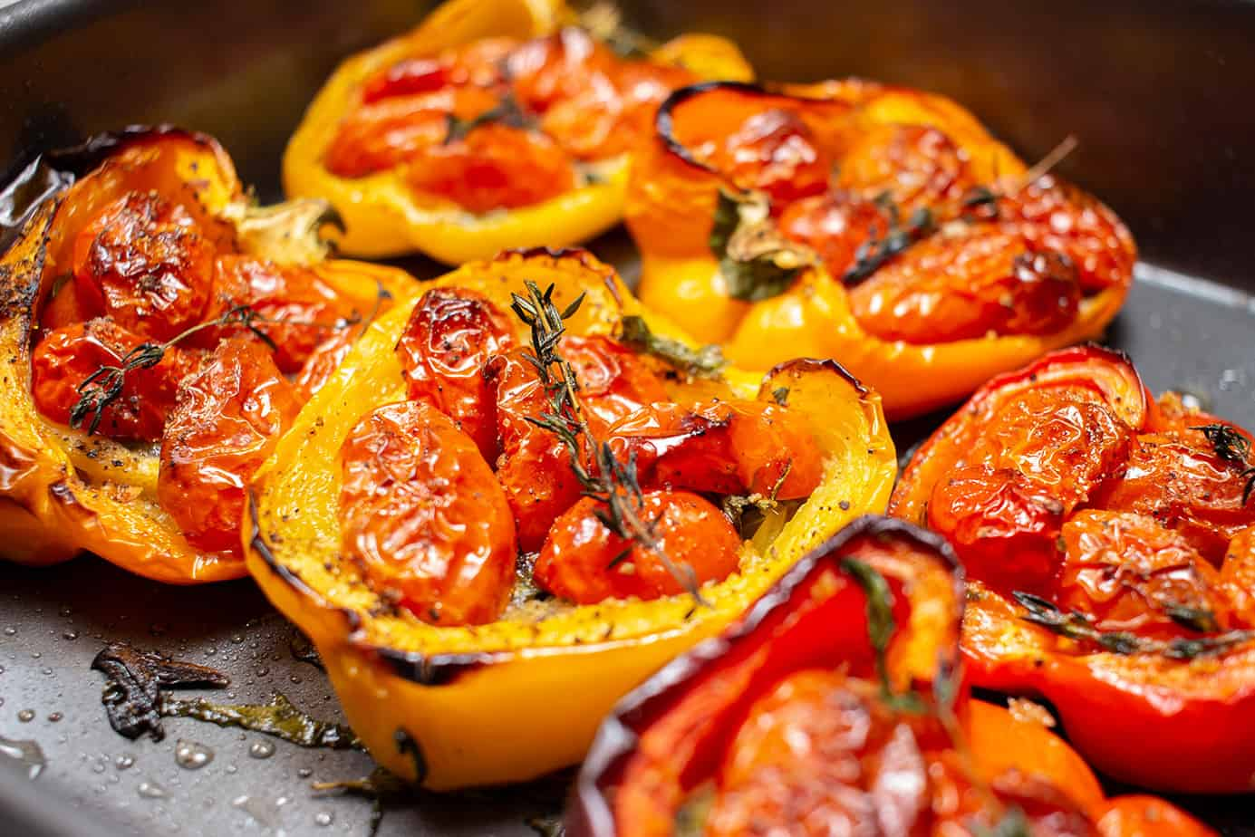 oven-charred tomato stuffed peppers