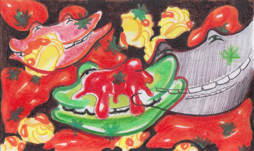 drawing of frogs splattered with tomato sauce