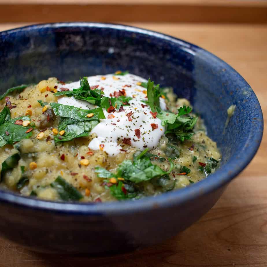 red lentil soup over rice