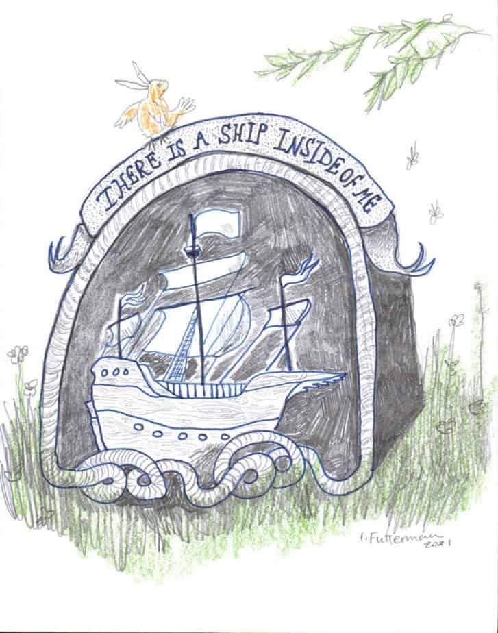 gravestone depicting a sailing ship