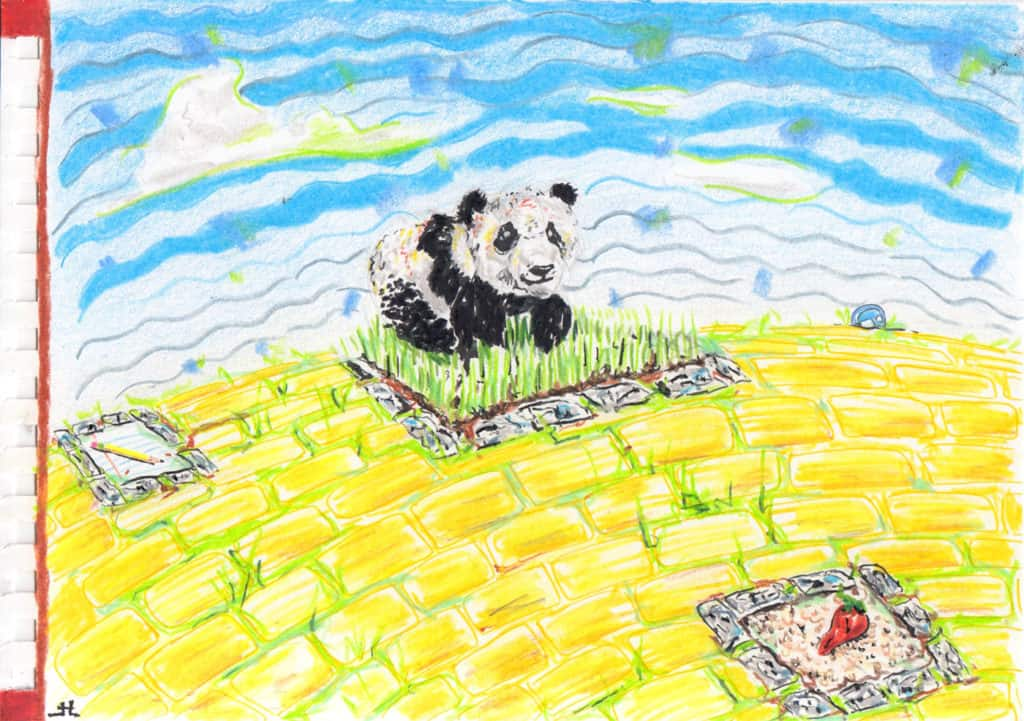 graveyard with statues of a panda, a chili pepper, and a pencil