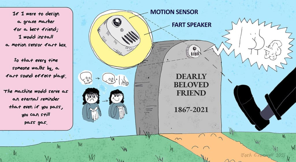 gravestone with a motion detecting fart machine