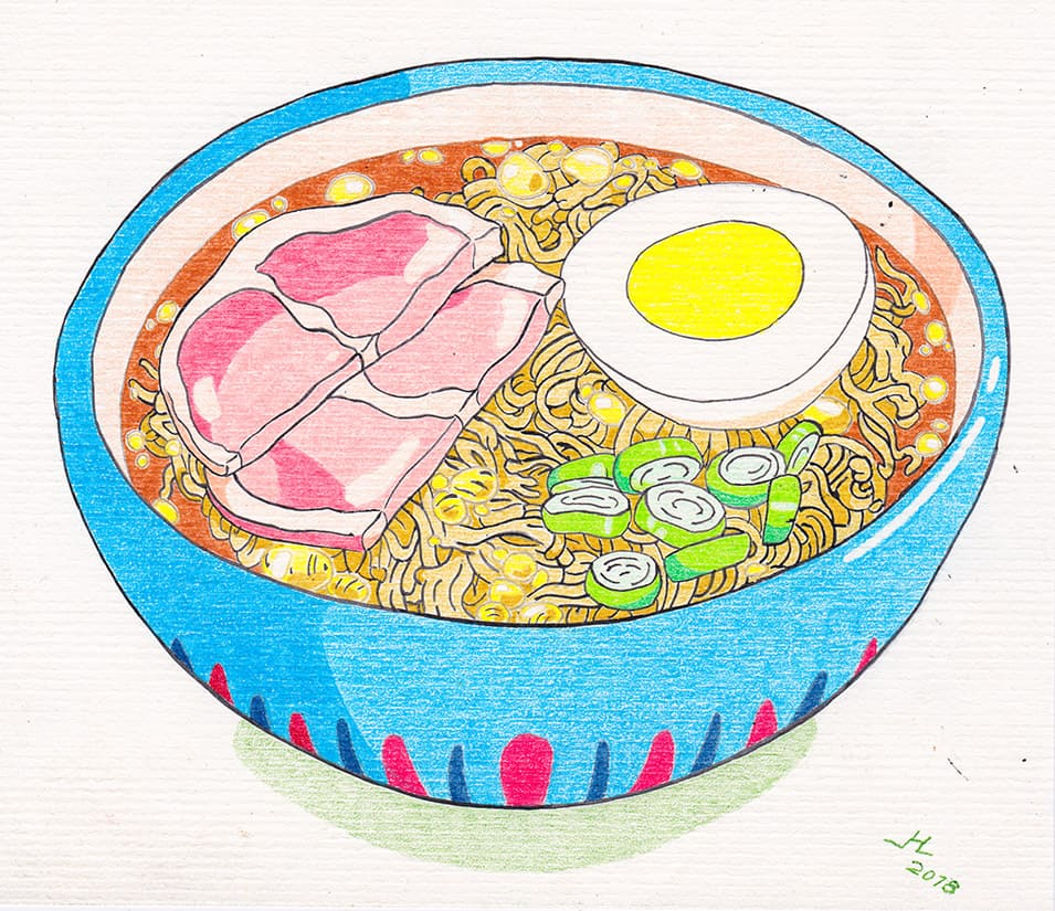 drawing of a ramen bowl from the movie Ponyo