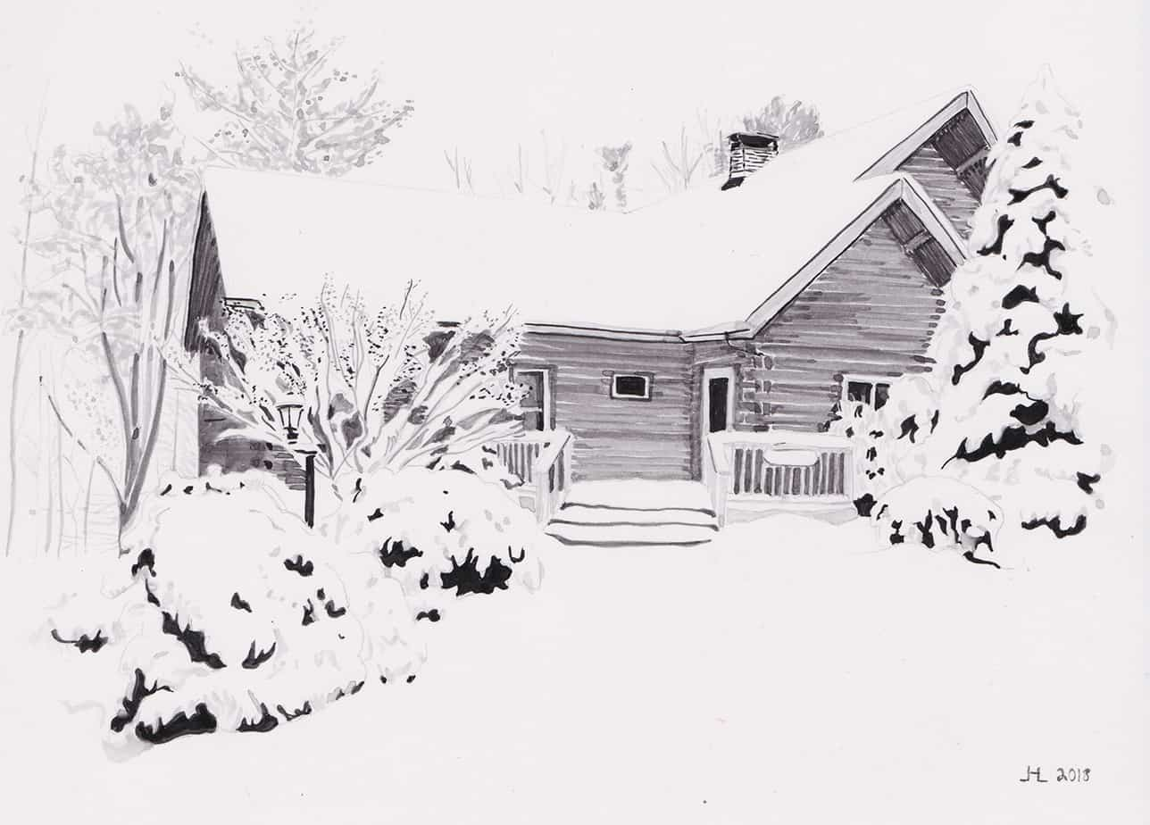 watercolor painting of a log cabin covered in snow