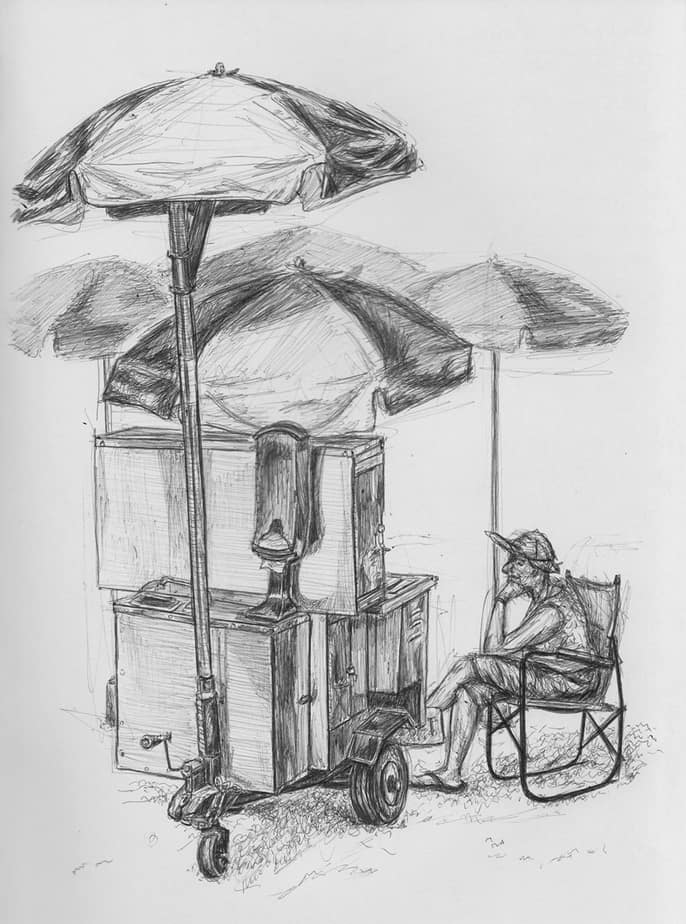 drawing of a hot dog stand at the beach