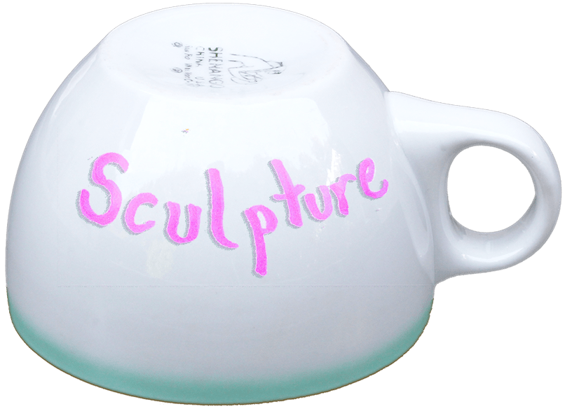 coffee cup labeled sculpture