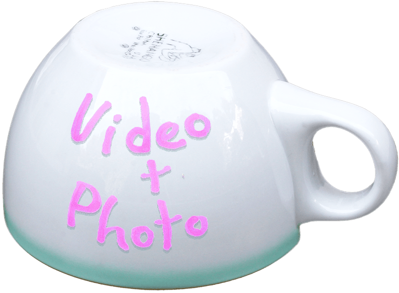coffee cup labeled video and photo