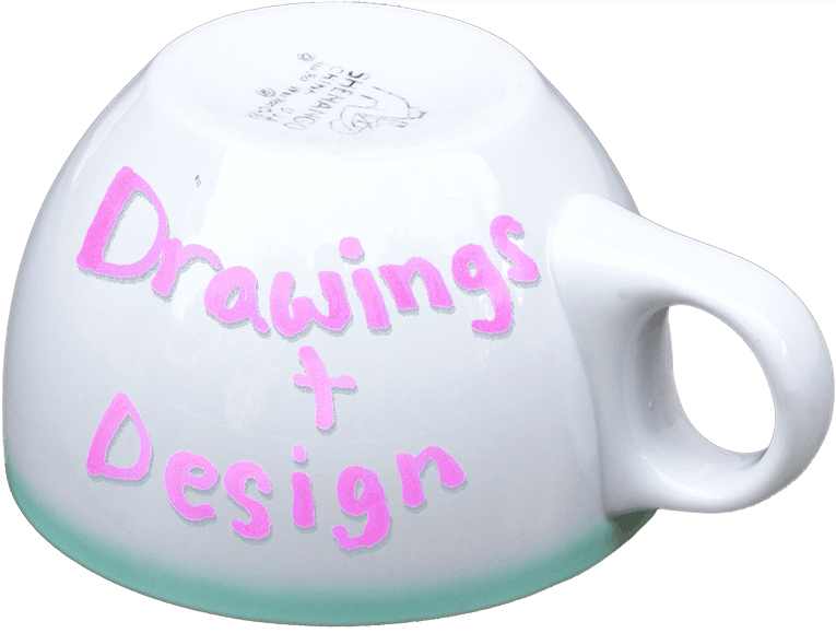 coffee cup labeled drawings and design