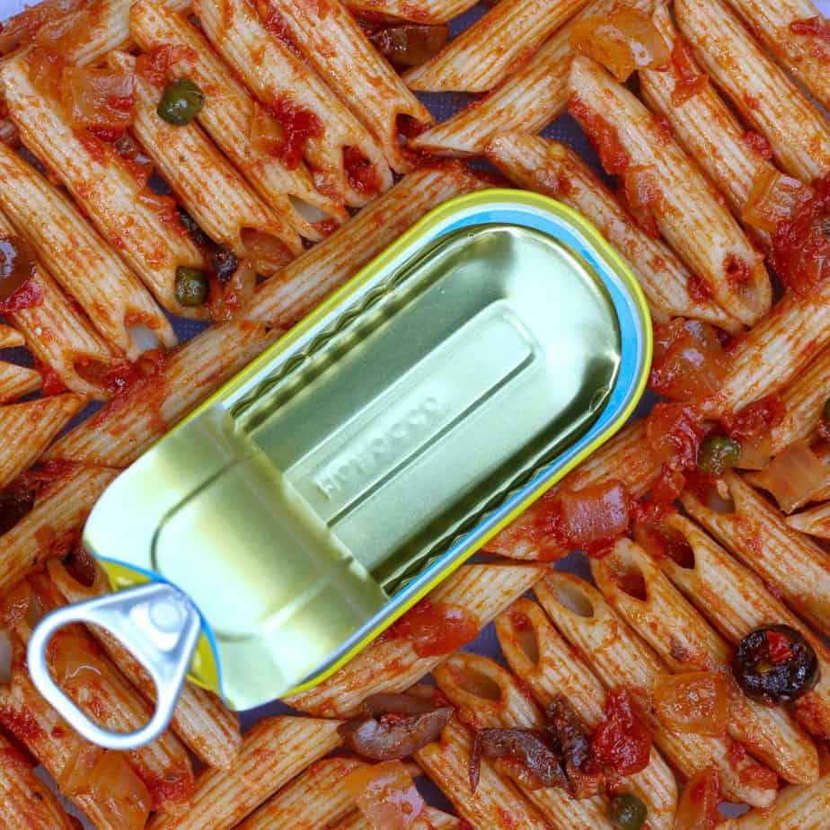 puttanesca penne with anchovy can